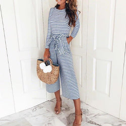 AREALOOK Fashion Stripe Long Sleeve Jumpsuits