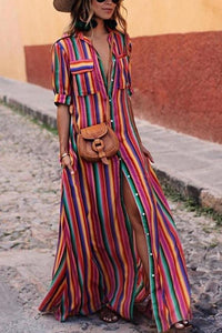 BOHO Button Down Collar  Stripes  Roll Up Sleeve Maxi Vacation Dresses