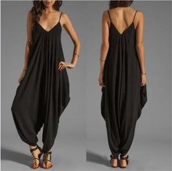 AREALOOK Women Halter V Neckline Loose Harem One Piece Jumpsuit