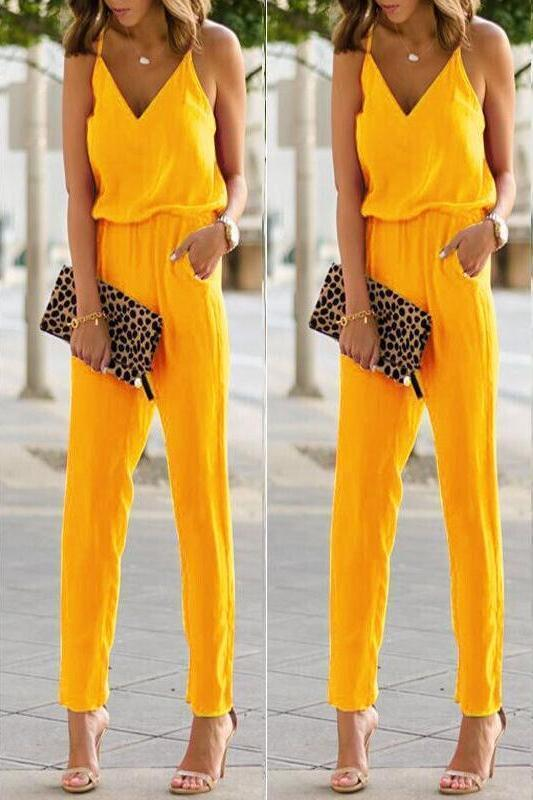 Fashion Women Sexy Sleeveless Top Pocket Front Wide Tapered Romper Strapless Jumpsuit