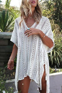 V-Neck Asymmetrical Side Slit Beachwear Smock