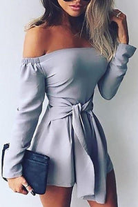 Stylish Off Shoulder Long Sleeves Romper