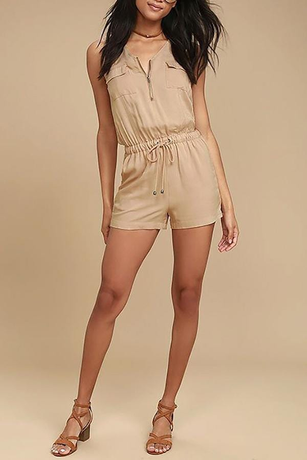 Casual Fashion Low Cut Drawstring Waist Romper