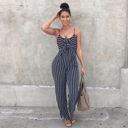 Sexy Fashion Stripe Jumpsuit In Royal Blue