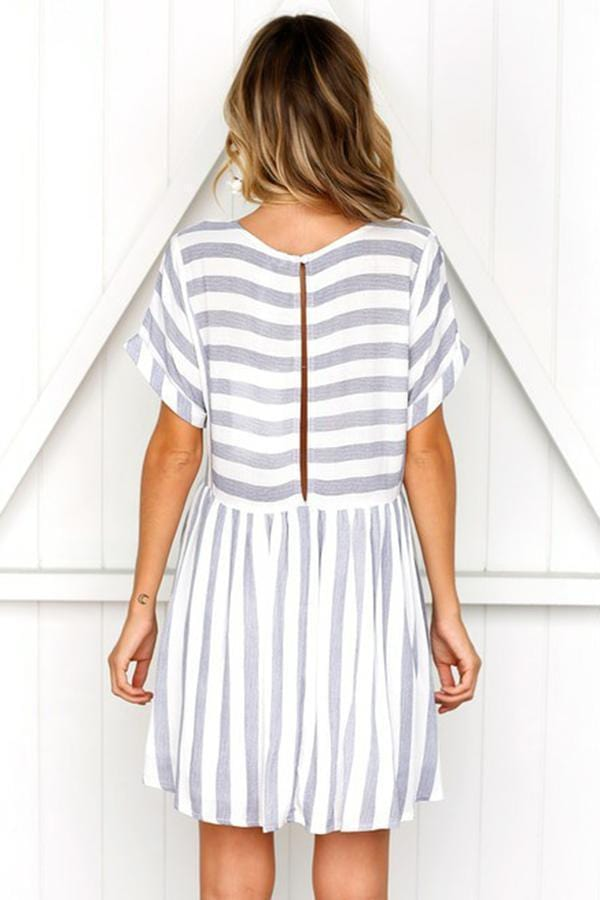 Women Short Sleeves Stripe Mini Dress