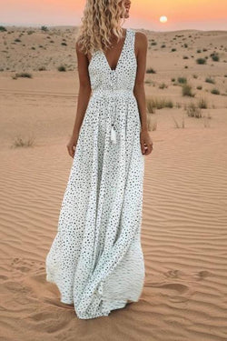Women's Casual Dress V-Neck Polka Dot Print  Boho Long Maxi Dresses for Summer-White