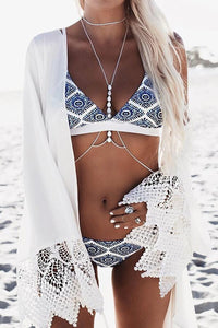 Fashion 2 Piece Tribal Printed Triangle Bikini Set