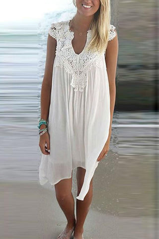 Arealook Lace Spliced Chiffon Loose Dress