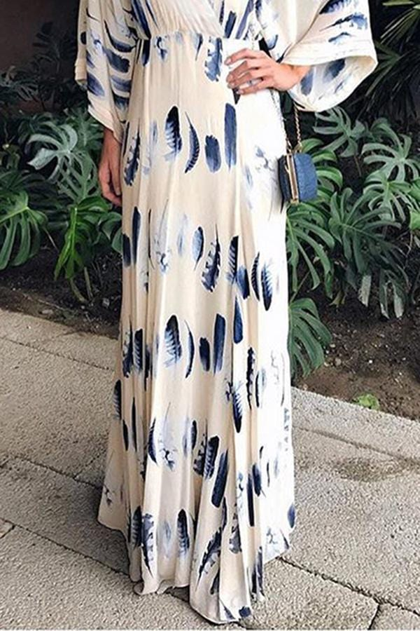 AREALOOK Sexy Floral Print Long Sleeves Vacation Maxi Dress