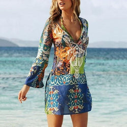 AREALOOK Sexy V Collar Printing Chiffon Beach Vacation Dress