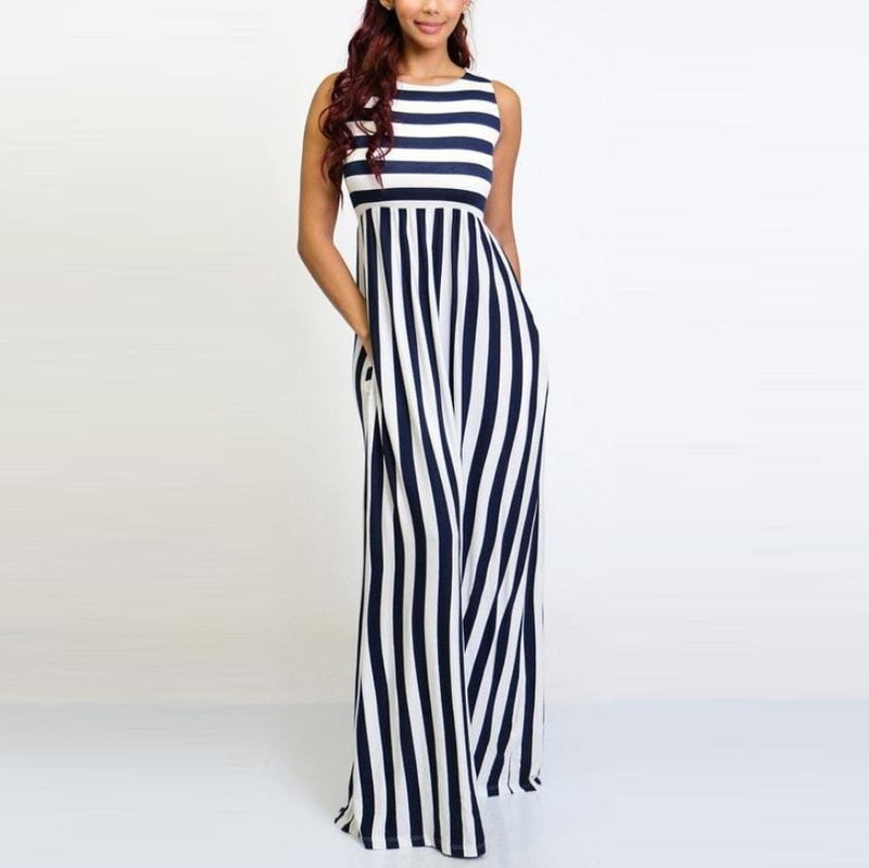 Women Sexy Strapless Stripe Wide Leg Long Jumpsuit