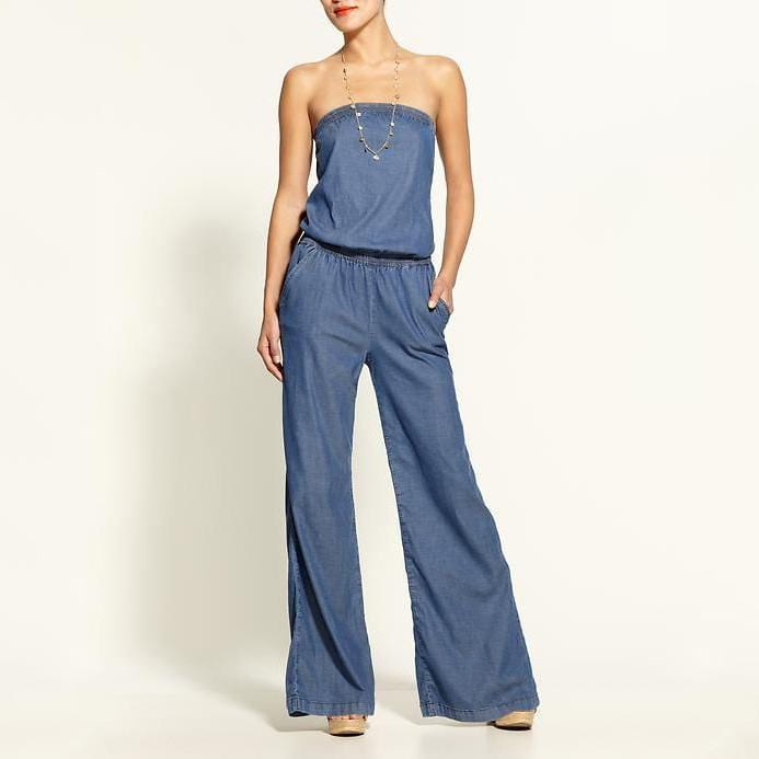 AREALOOK Women Sexy Off The Shoulder Wide Leg Denim Jumpsuits