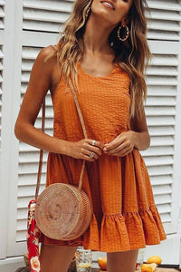 Cute Casual Dress Orange Sleeveless Mini Dress