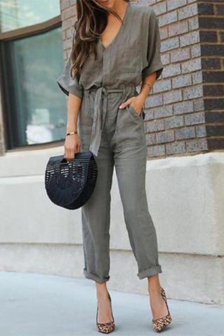 Arealook Women V Neck Short Sleeve Long Pants Jumpsuit Rompers Outfits