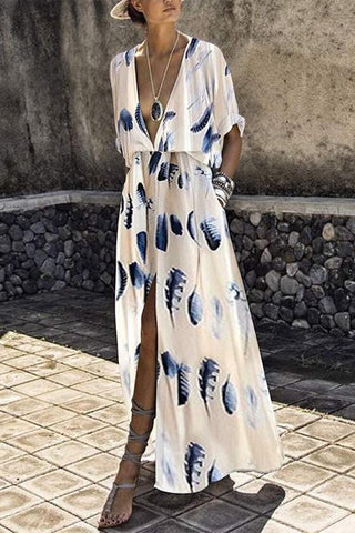 Arealook Fashion Short Sleeves Floral Print Maxi Dress