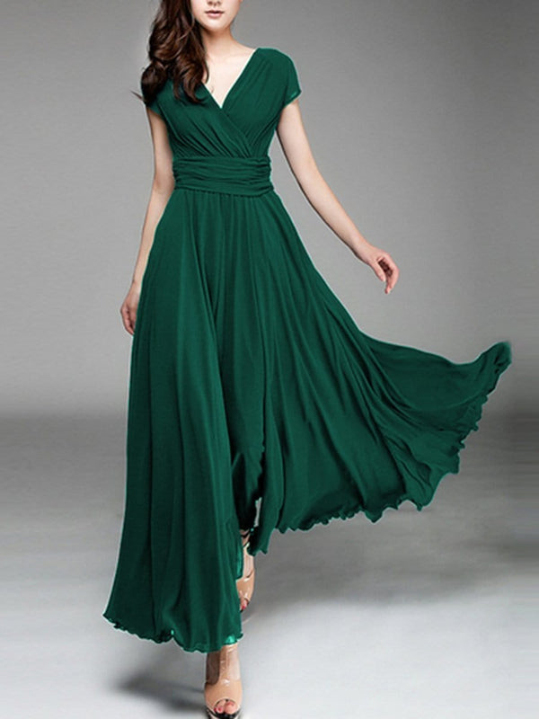 Spring Summer  Short Sleeve  V Neck  Chiffon  Basic Casual Elegant Maxi Dresses