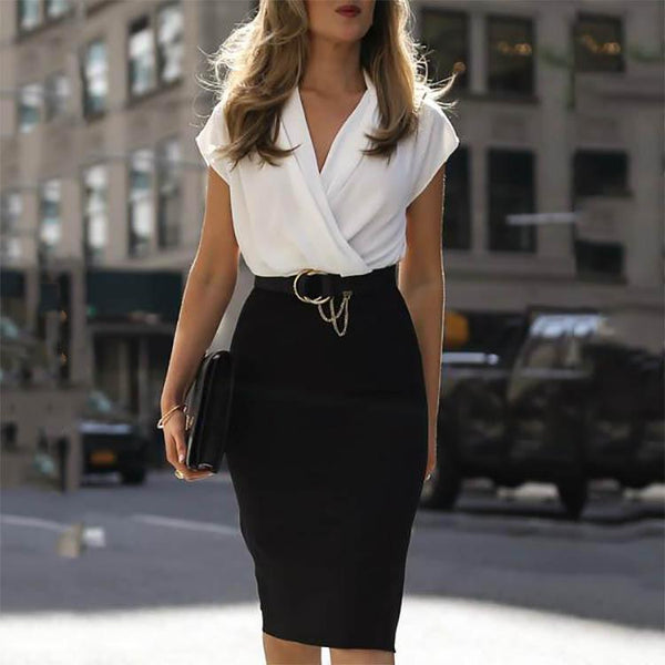 Sexy Surplice Plain Bodycon Dress