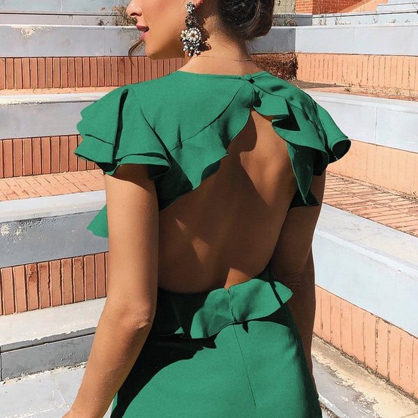 Sexy Elegant Backless Short Sleeves Maxi Dress