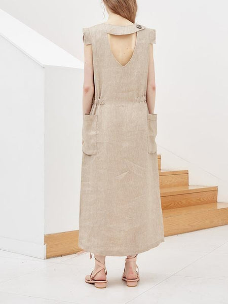 Cotton And Linen Loose Maxi Dress