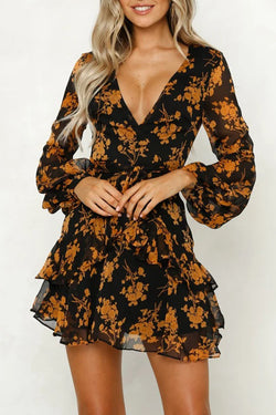Sexy V Neck Floral Print Long Sleeve Mini Dresses