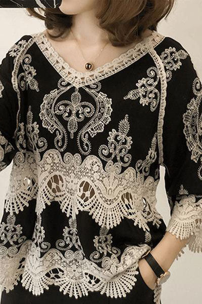 V Neck Embroidery Print Pullover