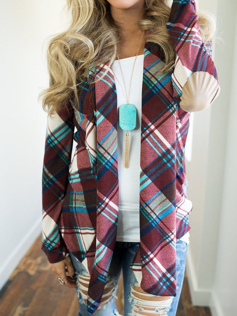 Patchwork  Plaid  Long Sleeve Cardigan