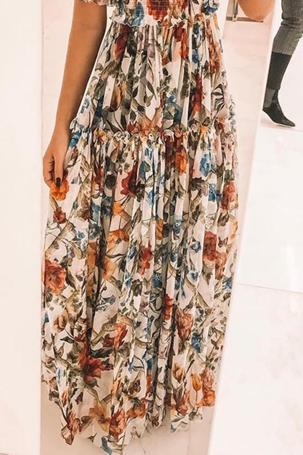 Arealook Sexy Short Sleeves Floral Print Off Shoulder Maxi Dress