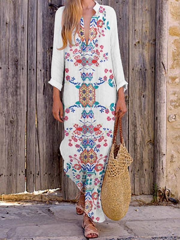 AREALOOK Bohemian Printed Stretch Cotton/Line V-Neck Dress