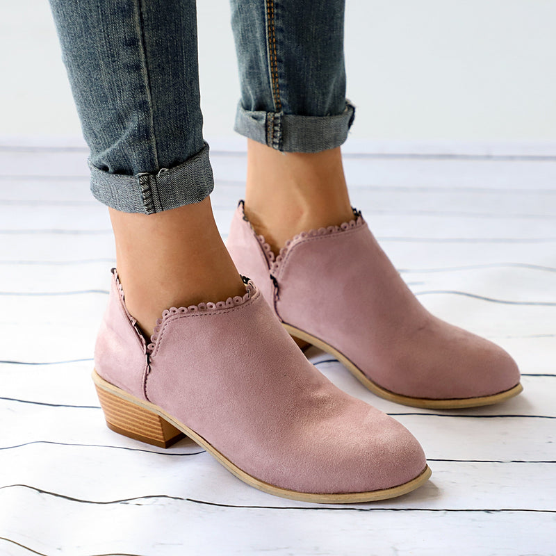 Women Low Heel Round Toe Lace-Up Casual Boots