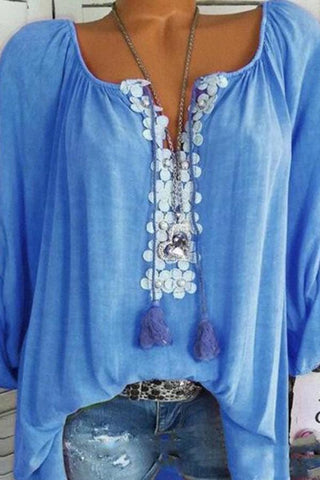 Autumn Spring Summer  Polyester  Women  V-Neck  Decorative Lace  Plain  Long Sleeve Blouses