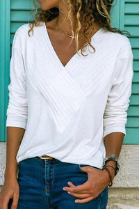 Arealook Brief V Neck Long Sleeve Plain Casual T-Shirts
