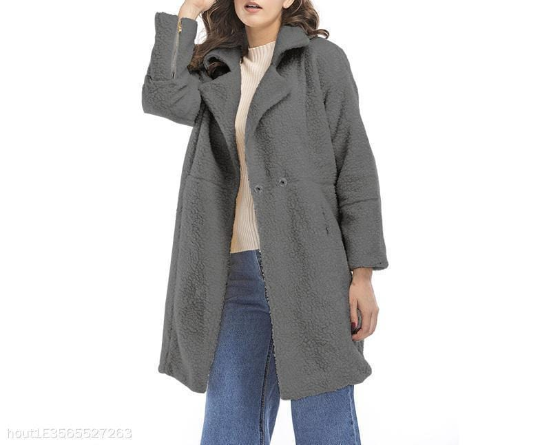 Cashmere Long Sleeve Mid-Length Coat Jacket