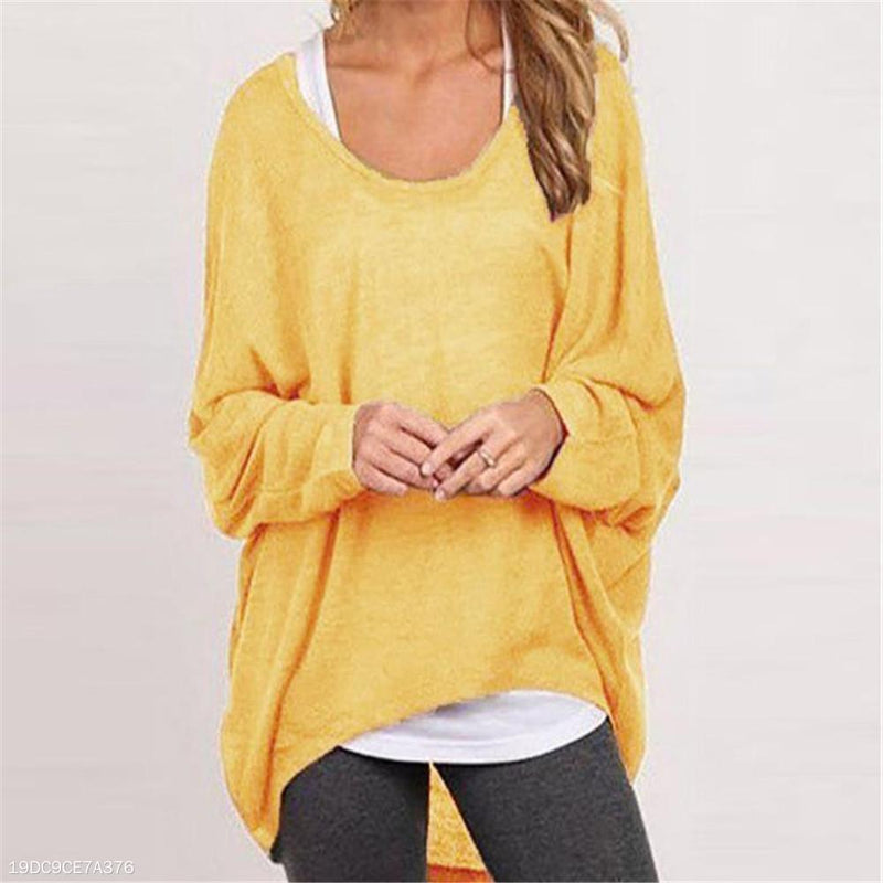 Fashion Youth Loose Plain Round Neck Long Sleeve Sweater