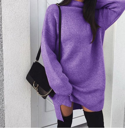 Fashion Plain Long Sleeve Knit Sweater Casual Sweater Dresses