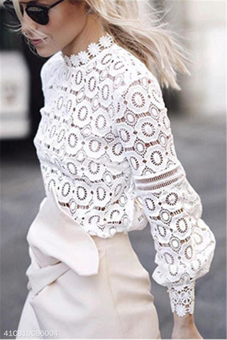 Hollow Lace Lantern Sleeves Fashion Tops