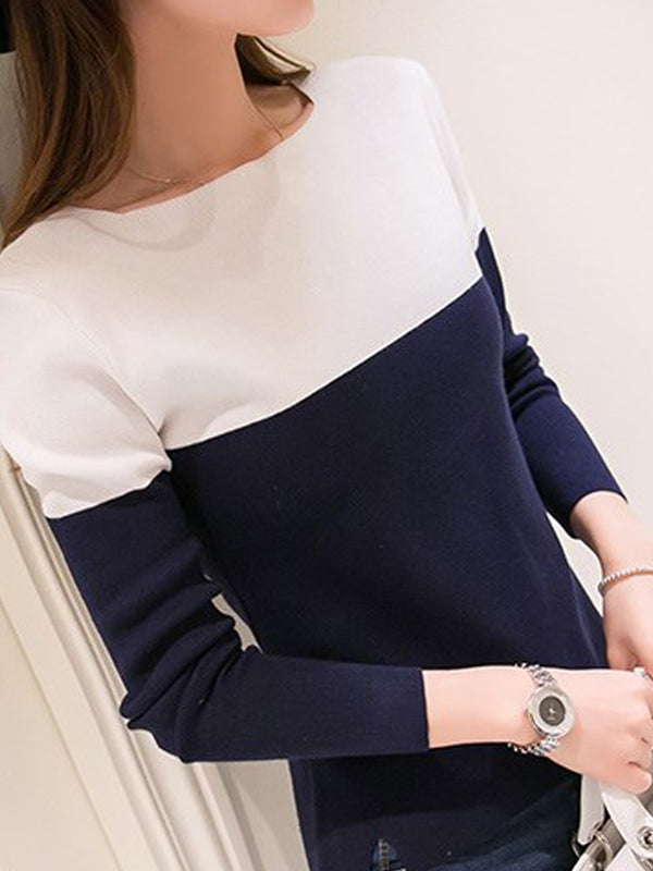 Round Neck Color Block Long Sleeve Sweaters Pullover
