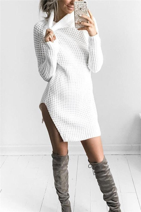 Sexy Open Fork High Collar Long Sleeve Sweater