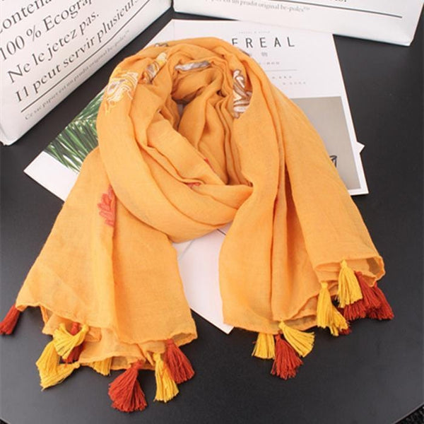 Fashion Floral Embroidery National Style Scarf