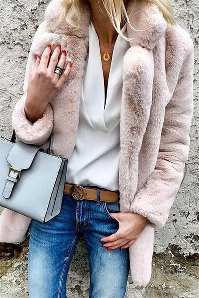 Pure Color Lapel Long-Sleeved Coat Coat