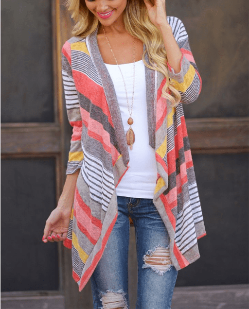 Striped Splice Seven-Part Shirt Jacket