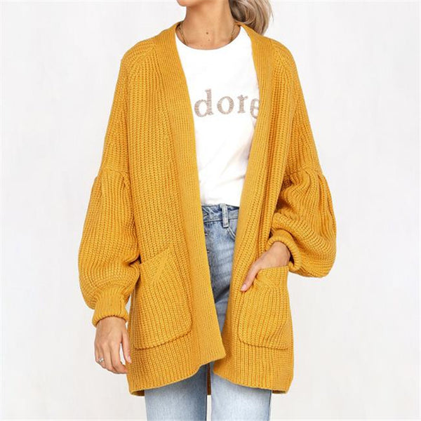 Fashion Casual Thermal Loose Plain Long Sleeve Sweater Cardigan