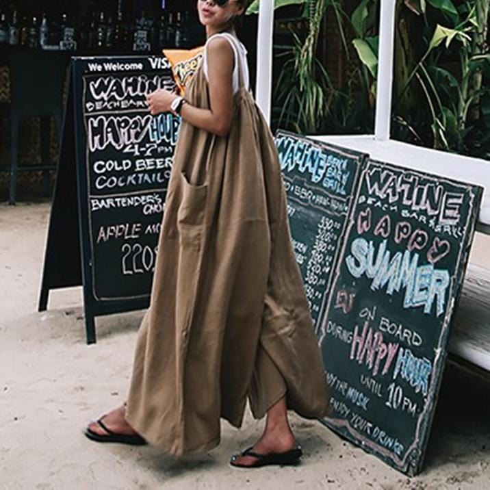 Vacation Fashion Casual Loose Plain Sleeveless Overall Jumpsuit