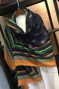 Chic Ethnic Casual Strip Print Thermal Rectangle Cape Scarf