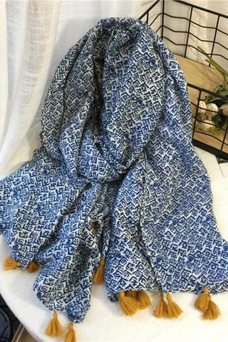 Chic Casual Print Rectangle Fringe Bottom Rectangle Cape Scarf