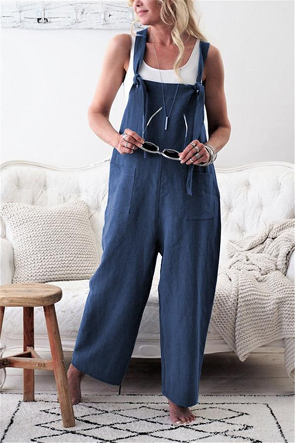 AREALOOK Women's Loose Baggy Wide Leg Cropped Denim Jumpsuit Rompers Pant