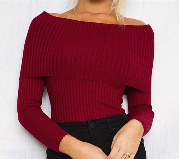 Sexy Shoulder Tightly Knitted Long Sleeved Shirt