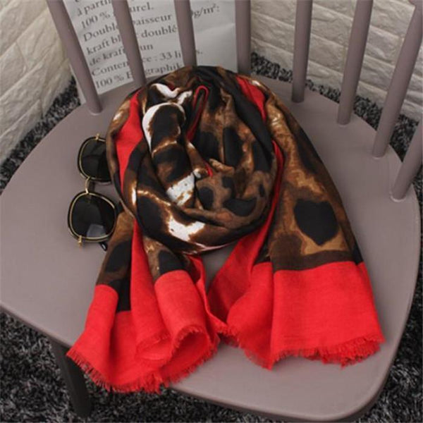 Vacation Casual Leopard Print Rectangle Cape Scarf