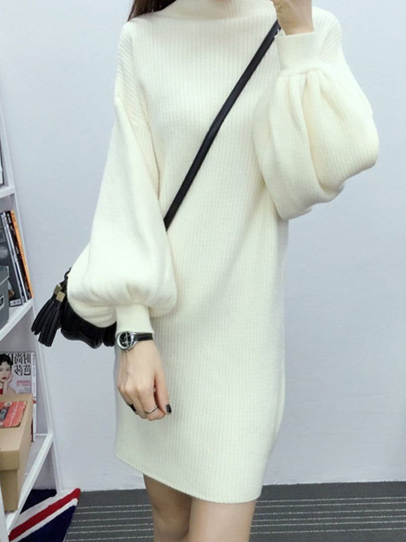 Round Neck  Plain  Lantern Sleeve Shift Dress