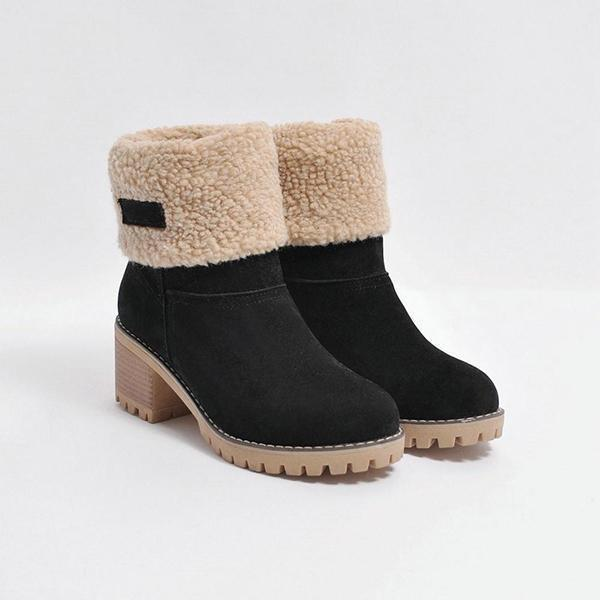 Women Winter Round Toe Chunky Snow Boots