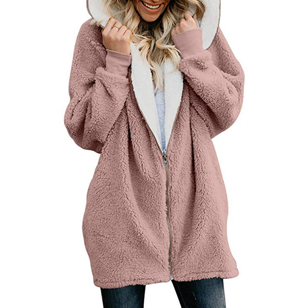 Hooded Zipper Faux Fur Coat  Cardigan